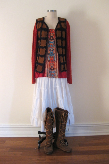 Free People Embroidered-Front Tunic & Vintage Vest