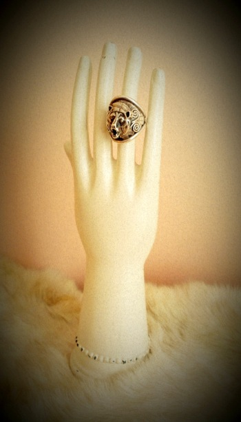 Sterling Silver Roaring Bear Ring