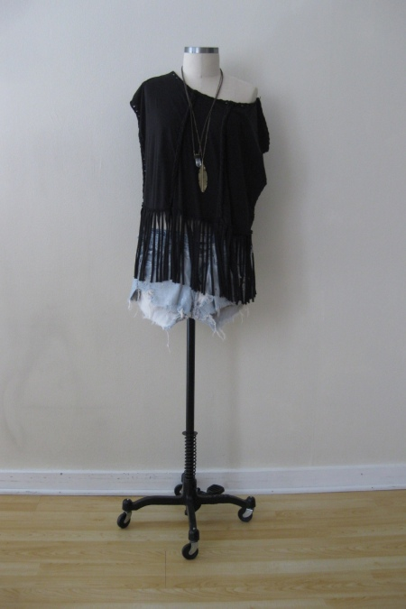 All-Saints Twisted Fringe Top & Denim Cut-Offs