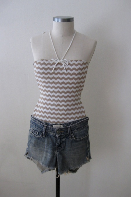 Anthropologie Chevron One-Piece Suit & Denim Cut-Offs