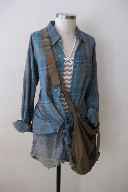 Anthropologie Chevron Suit, Dad's Plaid Shirt & Denim Cut-Offs