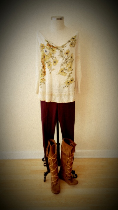 Anthro Floral Top & Free People Burgundy Bottoms