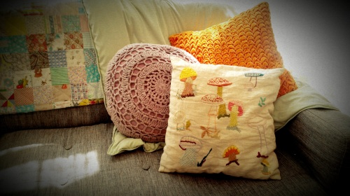 Embroidered-Front Mushroom Accent Pillow