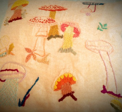 Embroidered-Front Mushroom Accent Pillow Close-Up