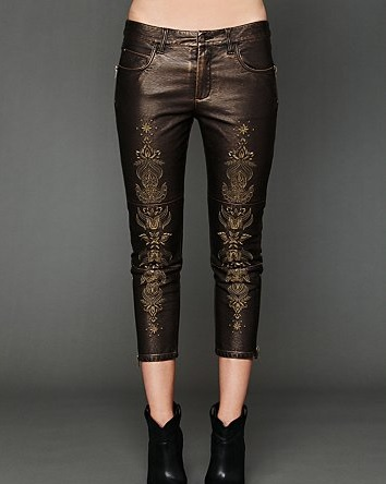Free People Embroidered Vegan Leather Pants