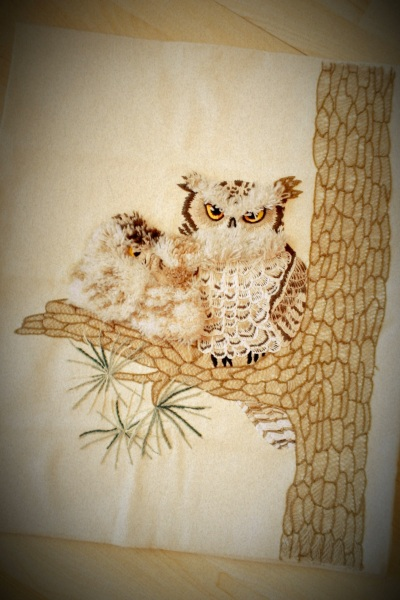 Vintage Owls on Birch Embroidery