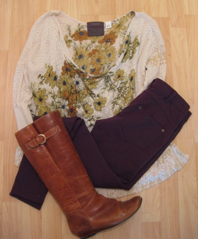 Spring Fashion Inspiration - Floral Top & Burgundy Bottoms Outfit Layout