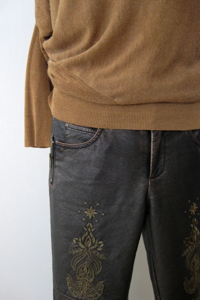 Golden Sweater & Matching Stitched Leather Pants