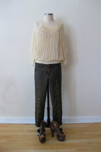 Anthropologie Sheer Pleated Shirt, Free People Bronze Embroidered Pants & Jeffrey Campbell Patchwork Leather Booties