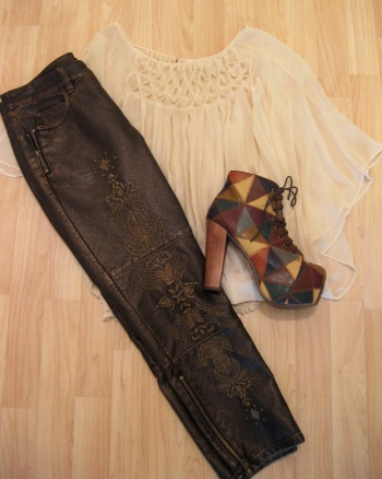 Sheer Pleated Shirt, Embroidered Pants, Patchwork Leather 'Lita' Booties
