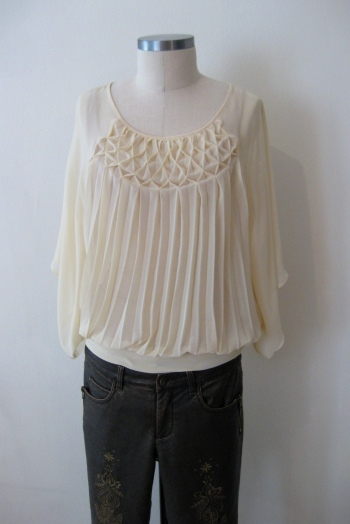 Ivory Anthro Pleated Shirt & Bronze Free People Embroidered Pants