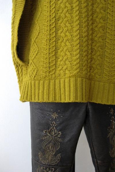 Anthropologie Kiwi Cable Knit & Free People Embroidered Leather Bottoms