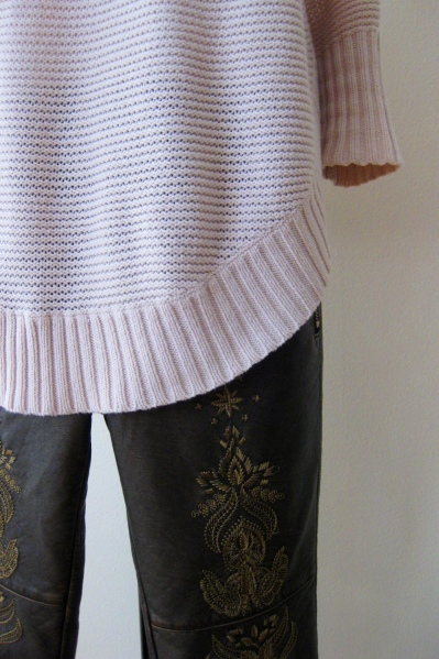 Chunky Knit & Free People Embroidered Leather Bottoms