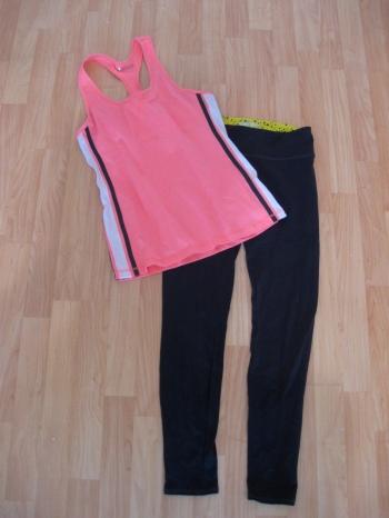 Yoga Outfit: Pink Striped Tank & Grey Leggings