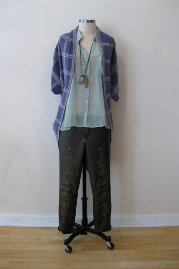 Urban Outfitters Sheer Mint Shirt, Anthropologie Purple Plaid Sweater & Free People Bronze Embroidered Pants