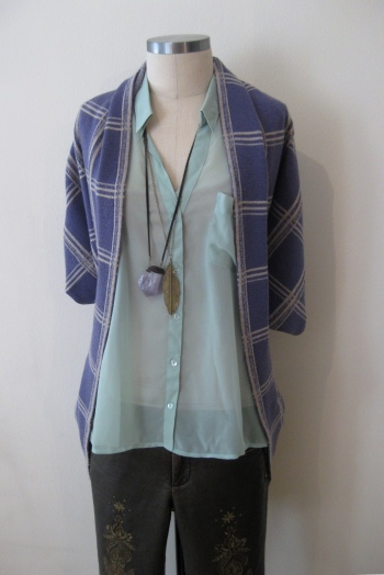 Mint Green Shirt, Purple Plaid Sweater & Bronze Vegan Leather Pants