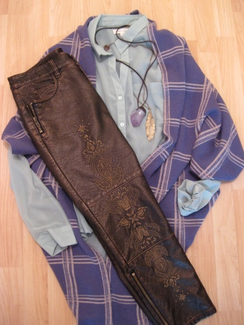 Mint Green Shirt, Purple Plaid Sweater, Embroidered Pants, Amethyst Stone Necklace & Feather Pendant