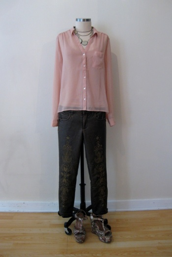 Urban Outfitters Sheer Pink Shirt, Free People Bronze Embroidered Pants & Jeffrey Campbell Floral Wedges