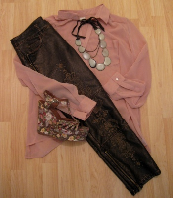 Sheer Pink Shirt, Embroidered Pants, Hammered Stone Necklace & Floral Print Wedges