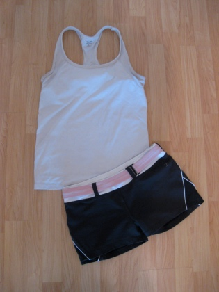 Stylish Yoga Sets: White Tank & Grey Shorts