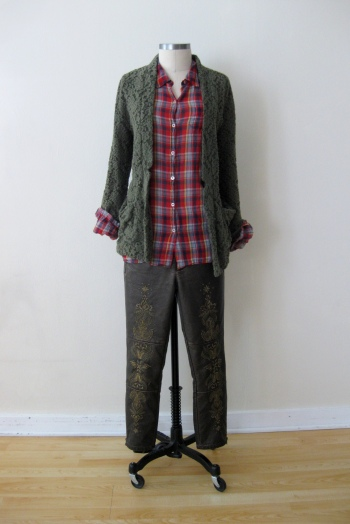 Anthropologie Plaid Shirt, Free People Lace Blazer & Bronze Embroidered Pants