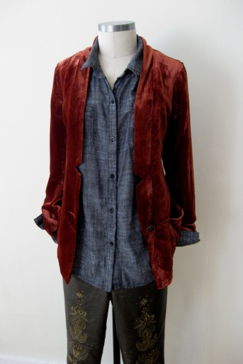 Chambray Shirt, Velvet Blazer & Bronze Vegan Leather Bottoms