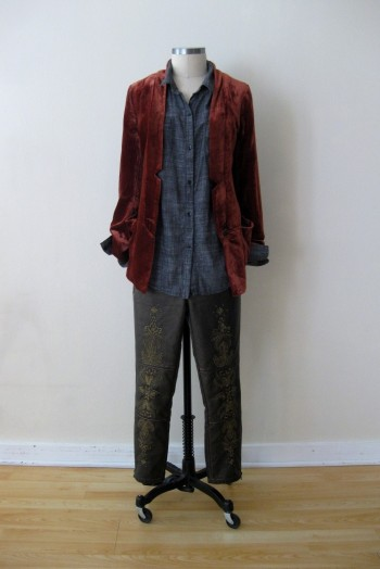 Free People Velvet Blazer, Chambray Shirt & Bronze Embroidered Bottoms