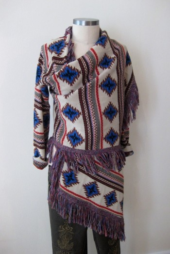 Navajo-print Wrap Sweater & Free People Embroidered Bottoms