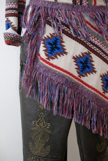 Navajo-print fringe sweater & embroidered leather pants