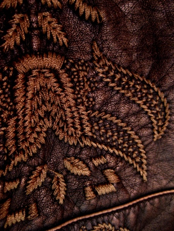 Intricate Embroidery on Vegan Leather