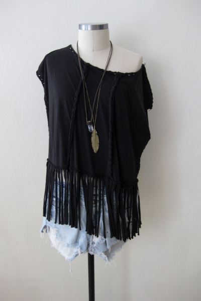 All-Saints Twisted Fringe Top & Cut-Offs (2)