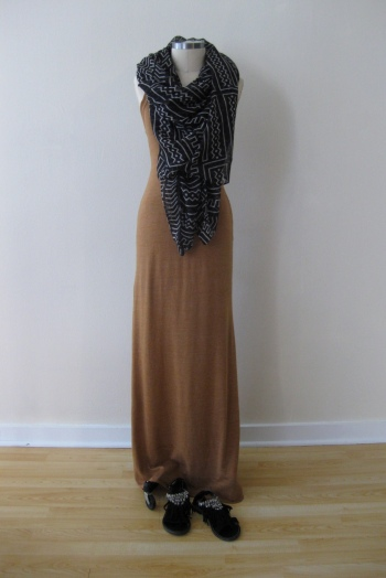 Gold Maxi Dress &  Navajo-Print Scarf