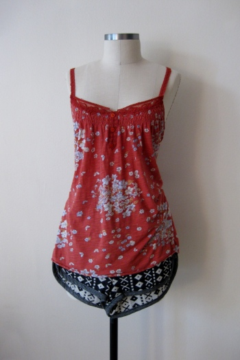 Urban Outfitters red floral tank with navajo shorts (1)