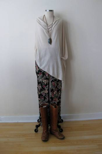 Ivory Knit Poncho & FP Floral Print Cords (1)