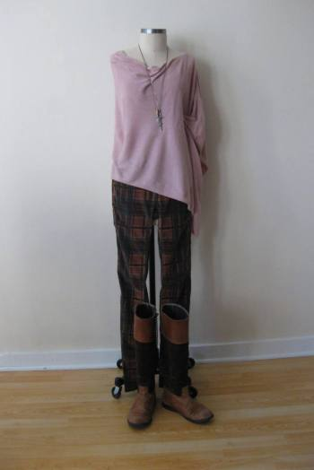 Light Pink Knit Poncho & FP Plaid Pants (1)