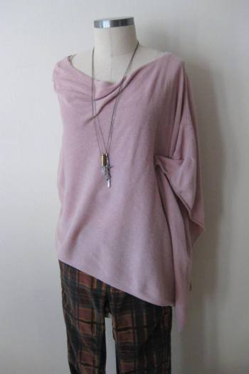 Light Pink Knit Poncho & FP Plaid Pants (2)