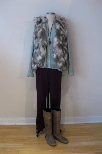 Burgundy Bottoms, Mint Top, Fur Vest
