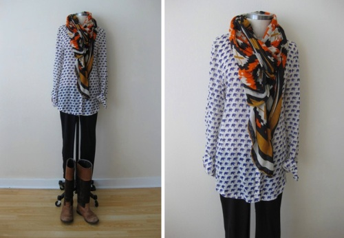 Elephant Blouse, Black Leggings, Southwestern Scarf