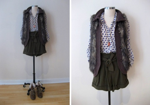 Elephant Blouse, Olive Shorts, Fur Vest