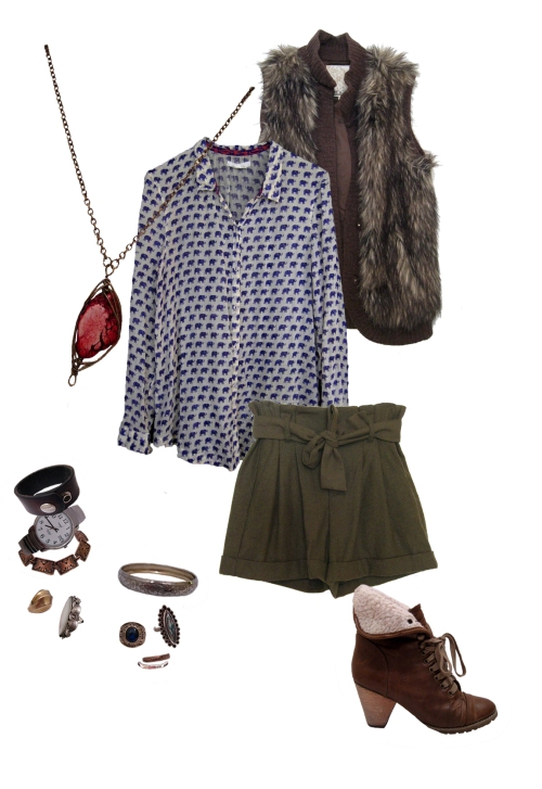 Purple Elephant Top, Fur Vest, Olive Wool Shorts