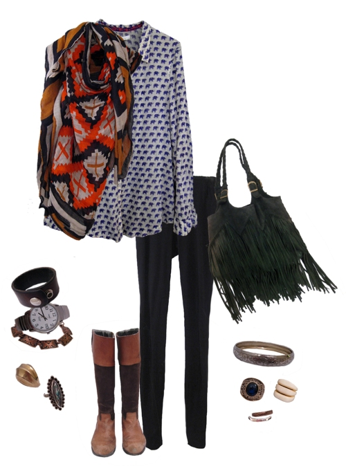 Purple Elephant Top, Southwestern Scarf, Riding Boots