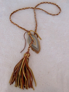 Agate Stone & Cognac Leather Braided Tassel Necklace