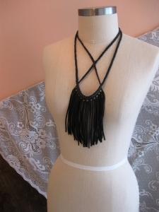 Black Deerskin Leather Studded Fringe Necklace