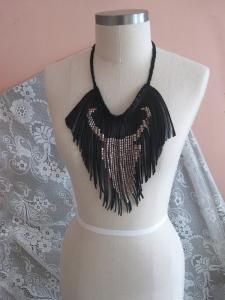 handmade black fringe brass studded bull boho necklace