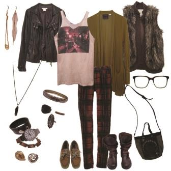 Plaid Paints, Rock Band Tee, Gold Cardi