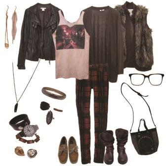 Plaid Paints, Rock Band Tee, Olive Cardi