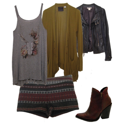 Floral Skull, FairIsle Shorts, Bordeaux Booties