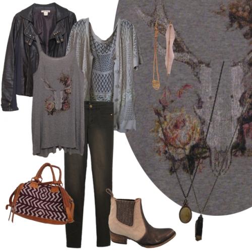 Floral Skull, Olive Skinnys, Lace Cardi, Moto Jacket