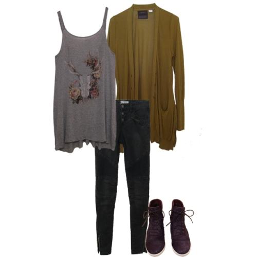 Skull Tank, Black Moto Jeans, Gold Cardi, Burg Pony Sneakers
