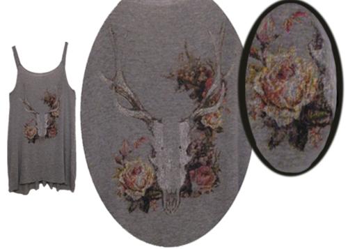 Vintage Floral Deer Skull Tank